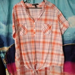 French Laundry Plaid 3x HiLo top sheer back